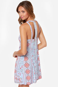 Mink Pink Ranch Fiesta Light Blue Print Dress at Lulus.com!