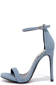 Much Adored Blue Denim Ankle Strap Heels at Lulus.com!