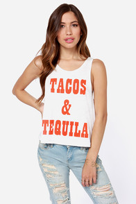 Mink Pink Mexican Madness Ivory Muscle Tee