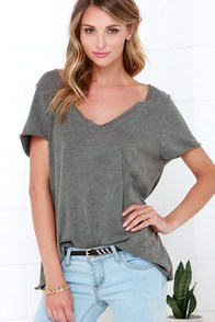 Project Social T Too Much Fun Washed Grey Tee at Lulus.com!