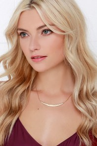 Crescent Curvation Gold Rhinestone Necklace at Lulus.com!