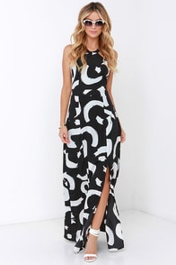 Lulus Ivory and Black Print Maxi Dress