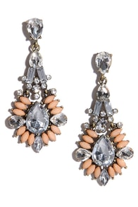 Marquise, Please Peach Rhinestone Earrings at Lulus.com!