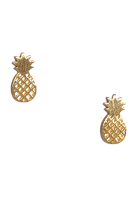 Ripe for the Picking Gold Earrings at Lulus.com!