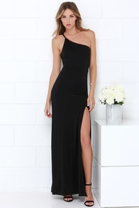 Sinuous Saunter Black One Shoulder Maxi Dress at Lulus.com!