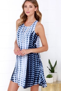 Saturday Special Navy Blue Tie-Dye Swing Dress at Lulus.com!