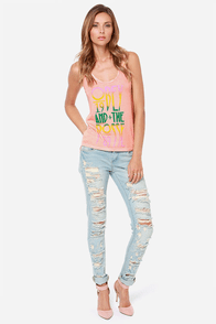 Obey Summer Gothic Peach Print Tank Top at Lulus.com!