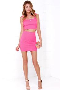 Two Piece Dress Hot Pink Dress Bodycon Dress 49 00