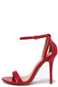 Glam Squad Red Patent Ankle Strap Heels at Lulus.com!