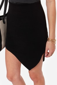 Breaking Point Asymmetrical Black Skirt at Lulus.com!