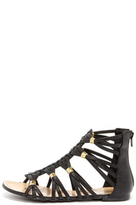 Coliseum Black Gladiator Sandals at Lulus.com!