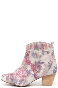 Sbicca Petunias Stone Multi Suede Floral Print Ankle Boots at Lulus.com!