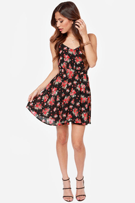 Lucy Love Penelope Black Floral Print Dress at Lulus.com!