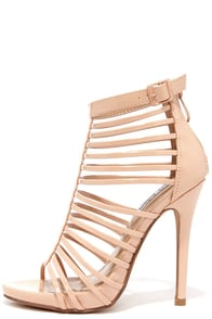 Act Your Cage Nude Patent Caged Heels at Lulus.com!