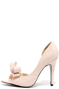 Best Bow-lieve It Nude D'Orsay Peep Toe Pumps at Lulus.com!