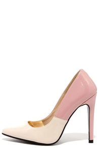 Halfway There Nude and Blush Patent Pumps at Lulus.com!