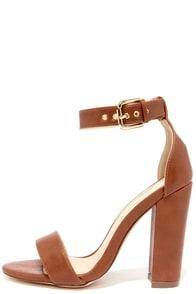 Galleria Cognac Ankle Strap Heels at Lulus.com!