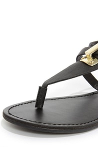 Silvia 12 Black and Gold Thong Sandals at Lulus.com!