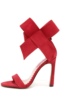 Betsey Johnson Friskyy Red Suede Leather High Heel Sandals