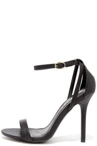 LuLu*s Remi Black Snakeskin Ankle Strap Heels at Lulus.com!