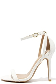 LULUS Remi White Snakeskin Ankle Strap Heels at Lulus.com!