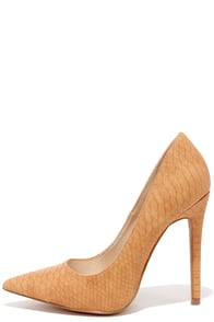 Pick-Me-Up Tan Snakeskin Pointed Pumps