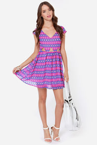 Sitting Print-y Purple Print Dress at Lulus.com!