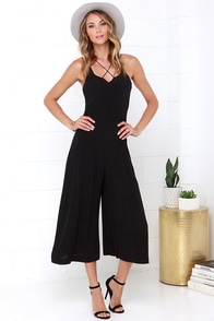JOA Crisscross My Mind Black Midi Jumpsuit at Lulus.com!