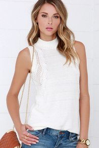 RVCA Down Low Cream Sleeveless Sweater Top at Lulus.com!