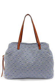 Carry a Tune Ivory and Blue Tote at Lulus.com!