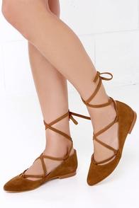 MTNG 94161 Monica Serraje Cuero Tan Suede Ankle Wrap Flats at Lulus.com!