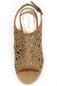 Very Volatile Daisy Girl Tan Leather Cutout Heels at Lulus.com!