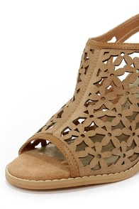 Very Volatile Daisy Girl Tan Leather Cutout Heels at Lulus.com!