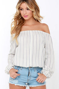 O'Neill Nala Off-White Striped Long Sleeve Top at Lulus.com!