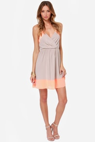 LULUS Exclusive Raise the Stakes Peach and Beige Dress at Lulus.com!