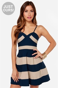 LULUS Exclusive Band and Deliver Beige and Navy Blue Dress at Lulus.com!