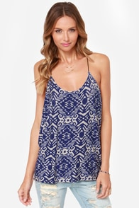 Drape Expectations Blue Print Top at Lulus.com!