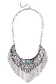 Temple Warrior Silver and Turquoise Necklace at Lulus.com!