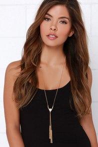 Nice Triangle Gold Rhinestone Drop Necklace at Lulus.com!