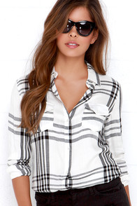 O'Neill Norma Black and Ivory Plaid Button-Up Top at Lulus.com!
