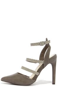 Reptile Exhibit Taupe Pointed Caged Heels at Lulus.com!