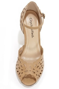 City Classified Kasey Sand Laser Cut Ankle Strap Heels at Lulus.com!