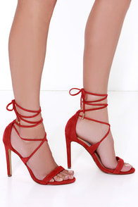 Steve Madden Presidnt Red Suede Leg Wrap Heels at Lulus.com!
