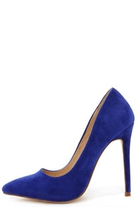 Ladies First Blue Suede Pointed Pumps at Lulus.com!