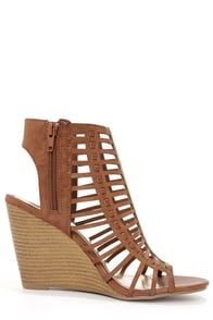 Madden Girl Coasterr Cognac Cutout Wedge Booties at Lulus.com!