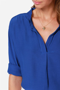 Lucy Love Pickadilly Cobalt Blue Top at Lulus.com!