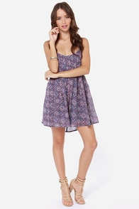 RVCA Told Secrets Blue Print Dress at Lulus.com!