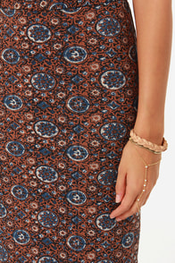 RVCA Berenice Blue and Brown Print Maxi Skirt at Lulus.com!