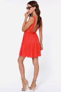 LULUS Exclusive Little Lady Coral Red Lace Dress at Lulus.com!
