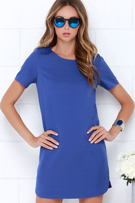 Idlewild Royal Blue Shift Dress at Lulus.com!
